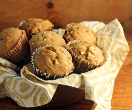 Apple raisin walnut spice muffins, for Thanksgiving or for afternoon tea.