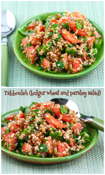 Tabbouleh, a popular Middle Eastern salad made with lots of fresh parsley. #vegan