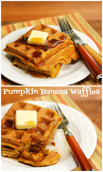 Pumpkin banana waffles for breakfast!