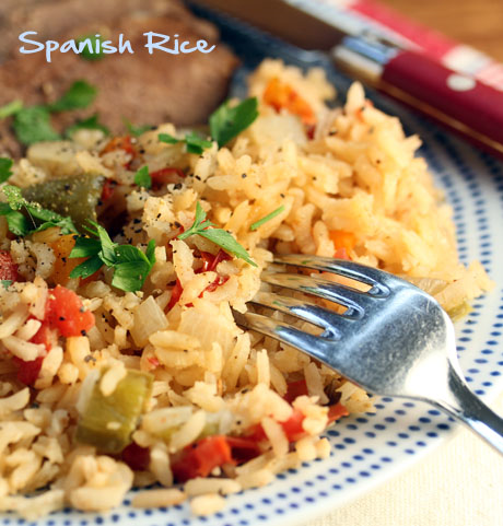 Spanish rice with onion, garlic and bell peppers: versatile and kid-friendly! #glutenfree