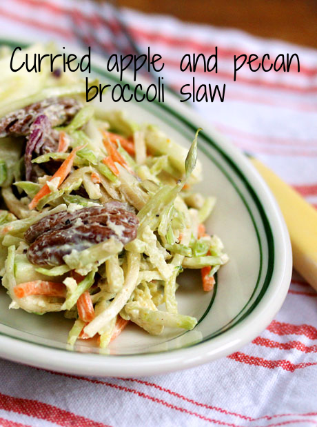 Curried apple and pecan broccoli slaw salad. Perfect for Thanksgiving?