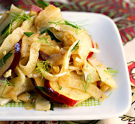 Fennel, apple and walnut salad with pomegranate orange dressing.