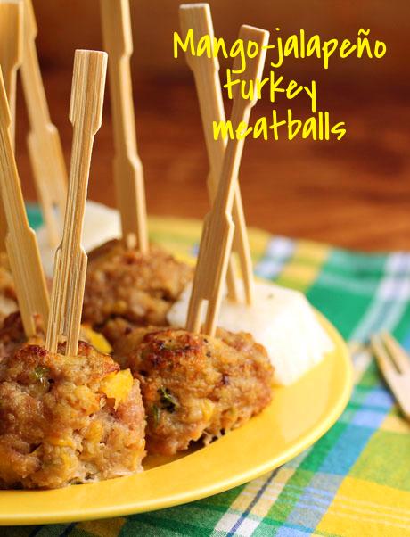 Mango-jalapeño turkey meatballs: an easy appetizer you can make ahead.