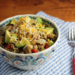 Salsa verde turkey and brown rice bowl with avocado and cheese {gluten-free}