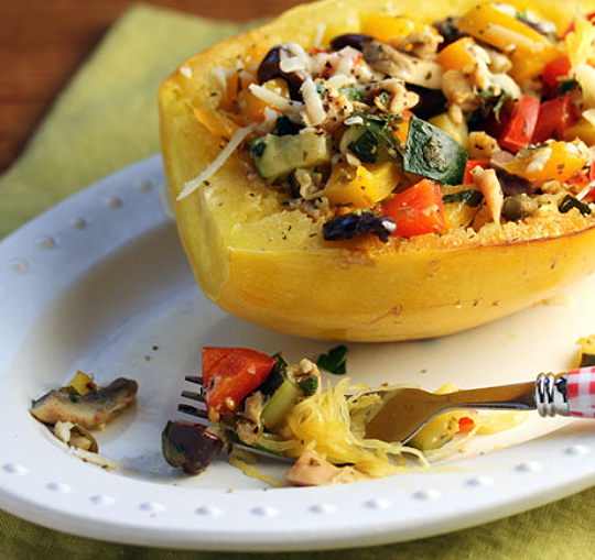 Roasted spaghetti squash boats filled with clams, vegetables and cheese. #glutenfree