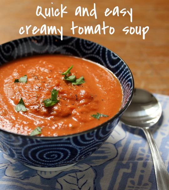 Creamy tomato soup, so easy to make, and perfect with grilled cheese sandwiches.