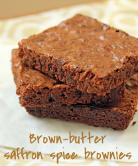 Brown-butter brownies spiced with saffron, cinnamon and cumin.