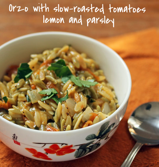 Use your favorite orzo, regular or whole wheat, in this tomato, lemon and parsley side dish.