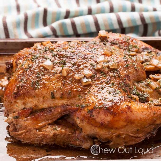 Slow cooker roast chicken, from Chew Out Loud.