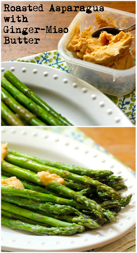 Ginger-miso butter, with a splash of Sriracha, wraps these asparagus in a riot of flavor. [ThePerfectPantry.com]