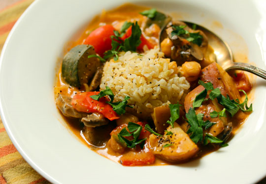 West African vegetable stew in peanut sauce, a great main dish for vegans.
