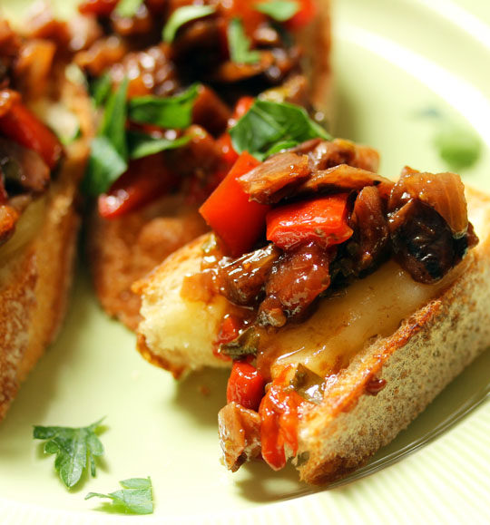 A tapas-inspired spicy eggplant caponata toast, for an easy party appetizer.