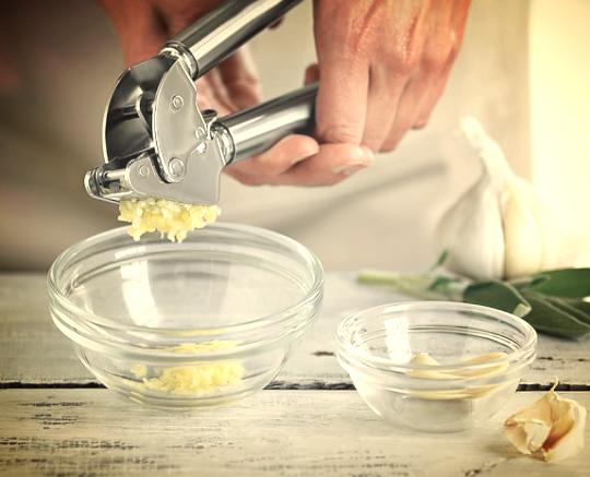 Garlic press; image from http://www.williams-sonoma.com/products/rosle-garlic-press/