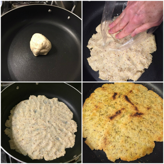 How to cook gluten-free pizza dough on the stovetop.