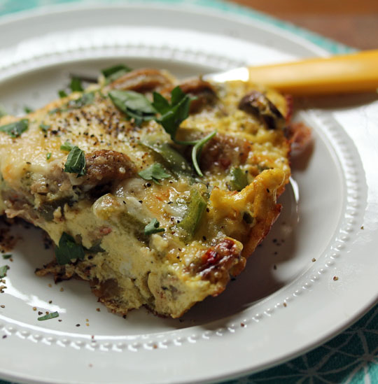 Italian sausage, pepper and mushroom frittata, perfect for breakfast, brunch, or supper.