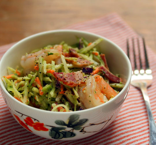 Shrimp and bacon bump up the flavor of store-bought broccoli slaw in this easy main course salad.