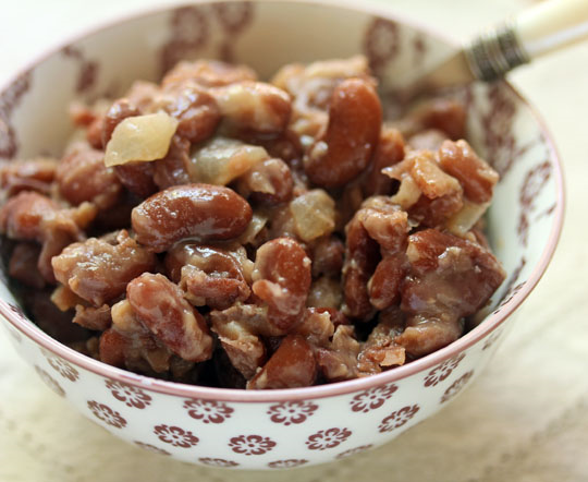 The pressure cooker makes easy work of these Pima baked beans, a Native American recipe.