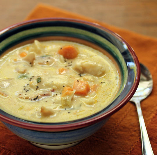 New England fish chowder with a twist: sweet potatoes!