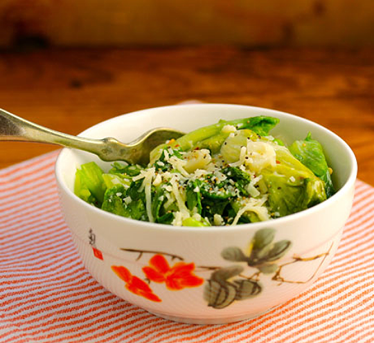 Sauteed escarole brings some dark leafy greens to your table. #glutenfree #vegetarian ThePerfectPantry.com