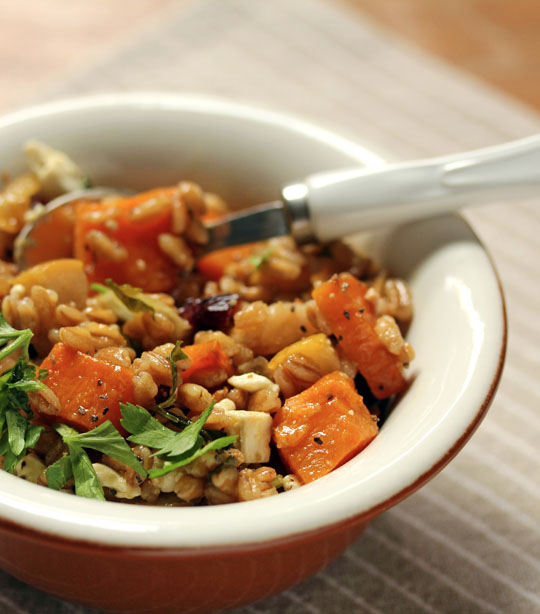 Farro with butternut squash, pears, dried cranberries and feta: a Meatless Monday main course or side dish. #vegetarian