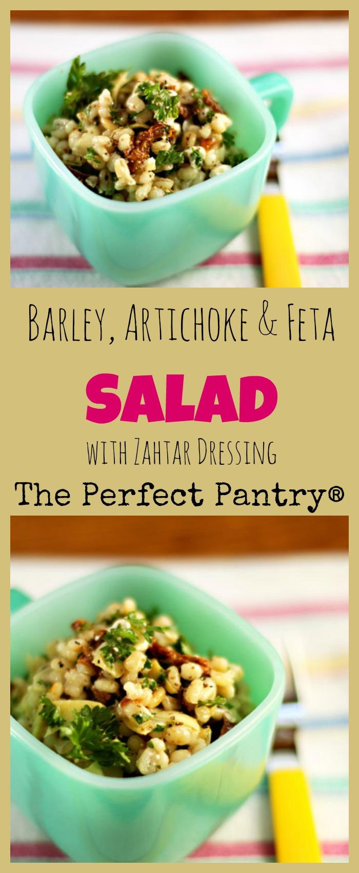 Barley salad with artichokes, sun-dried tomatoes and feta, and a lemony zahtar dressing. #vegetarian