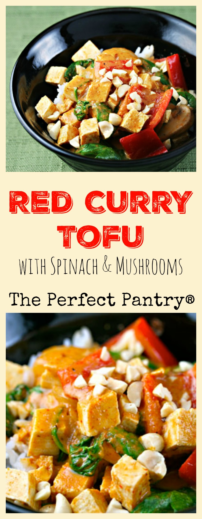 Red curry tofu with spinach and mushrooms [ThePerfectPantry.com]