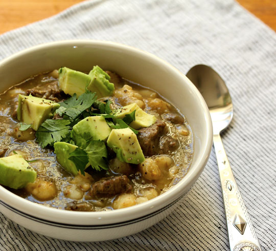 Use your pressure cooker (or a Dutch oven) to make this easy pozole verde beef stew.