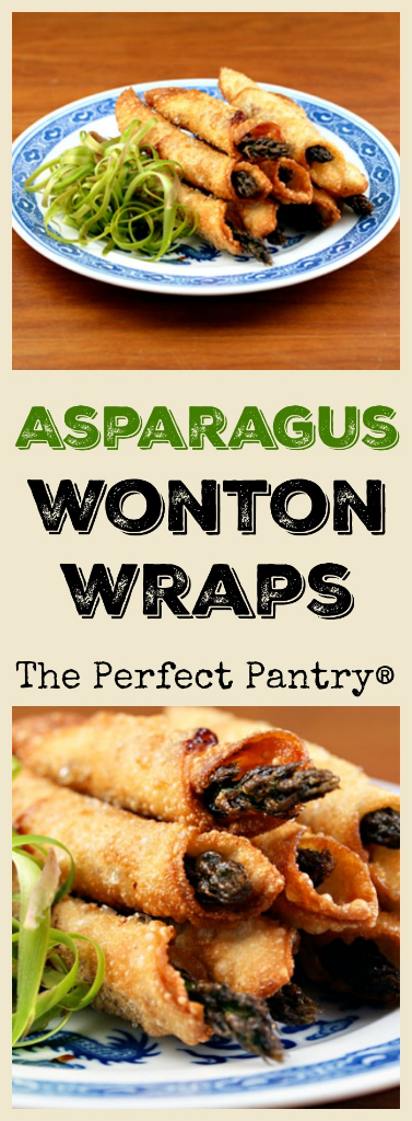 Asparagus wrapped in wonton skins slathered with hoisin, mustard, or your choice of sauce! Couldn't be easier!