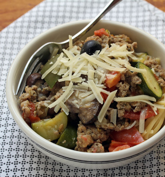 Add more veggies, or use less sausage, in this all-purpose turkey, sausage and vegetable low-carb sauce.