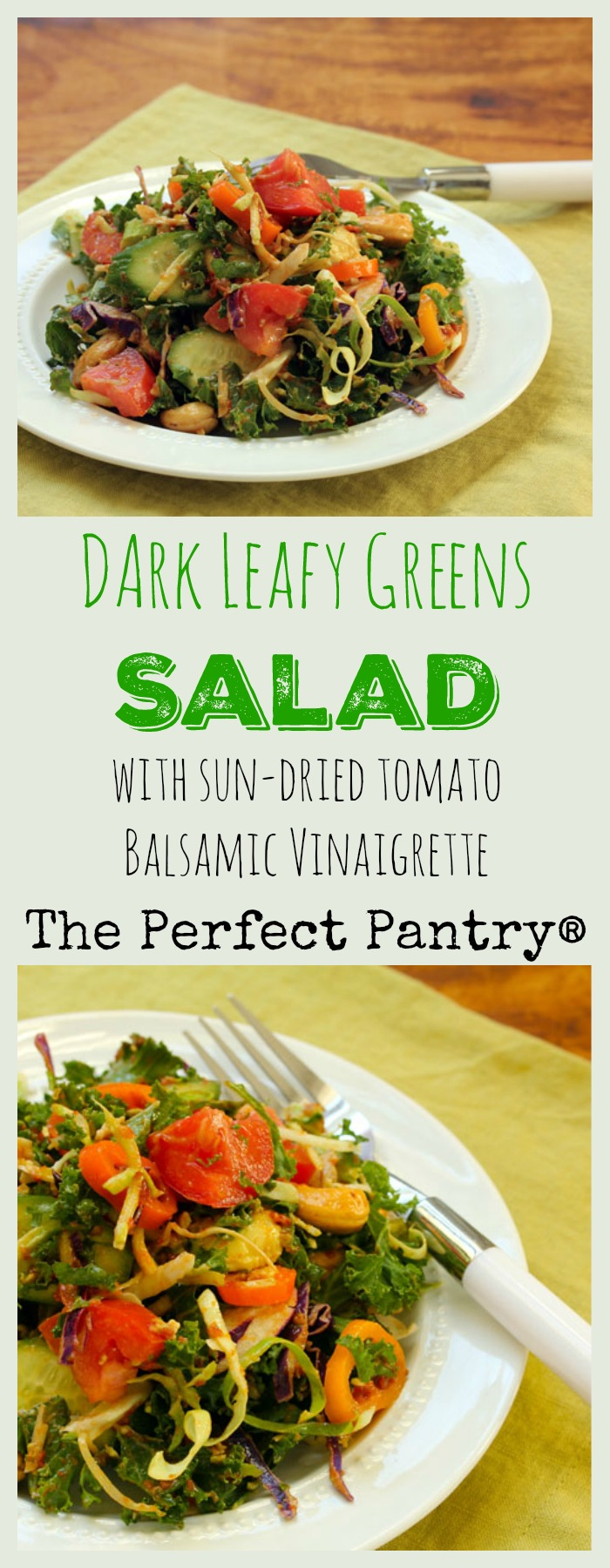 A dark leafy greens salad perfect for winter. Use sun-dried tomatoes to bump up the flavorful dressing.