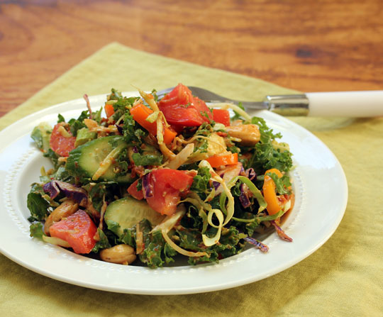 Use sun-dried tomatoes to add flavor to this dark leafy greens salad.