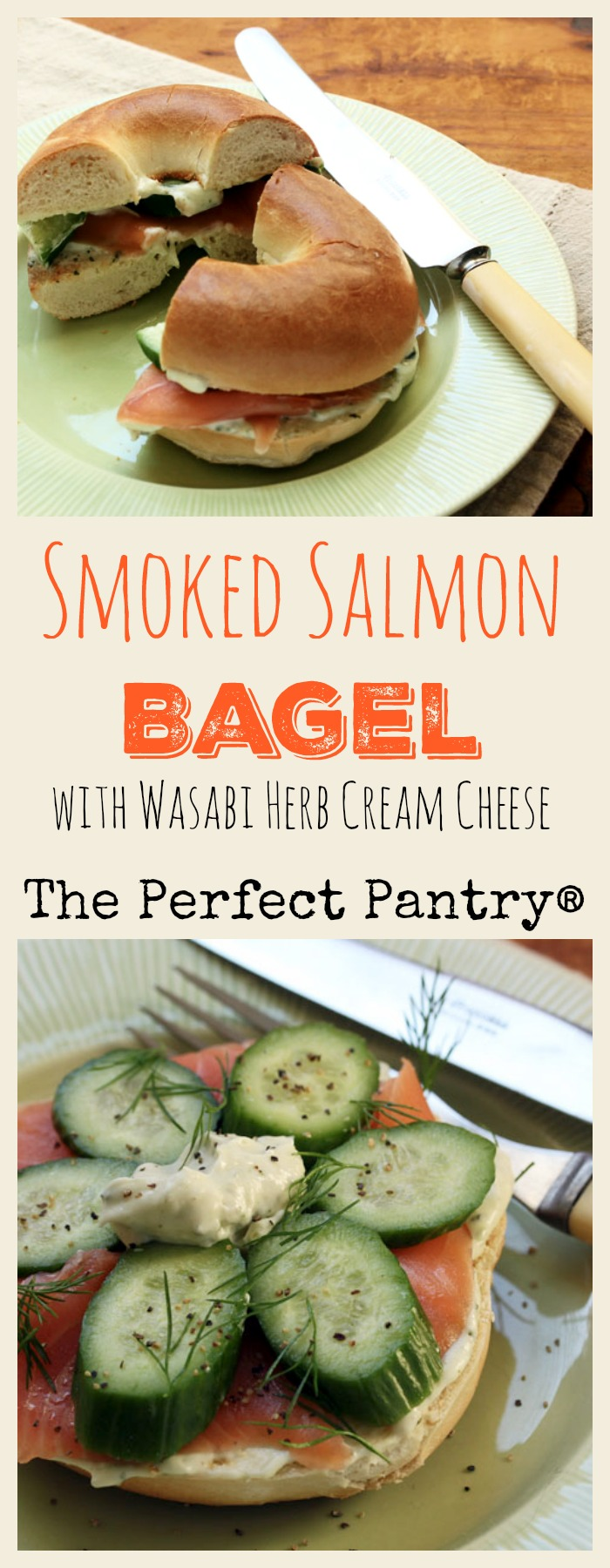 Smoked salmon bagel with amazing wasabi herb cream cheese, a brunch delight!