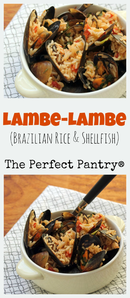 Enjoy this easy rice and shellfish dish at the end of a long week, with friends and some cold Brazilian beer! [ThePerfectPantry.com]