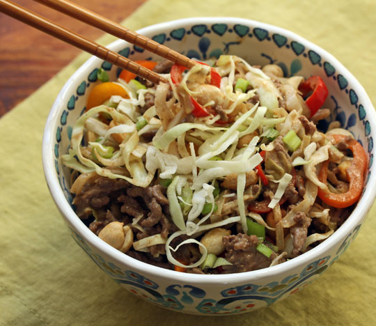 Shredded cabbage takes the place of noodles in this easy stir-fry. [ThePerfectPantry.com]