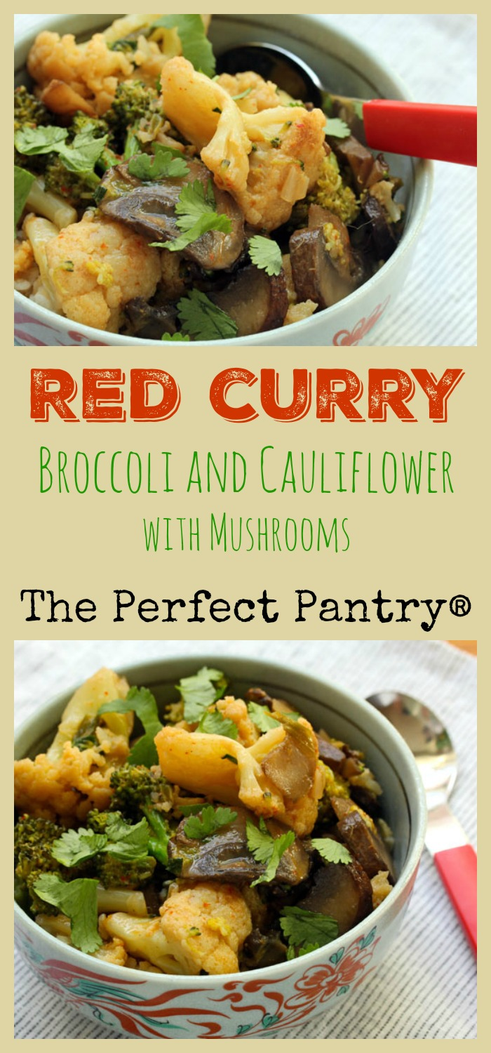 Easy Thai red curry with broccoli and cauliflower and chunky sliced mushrooms.