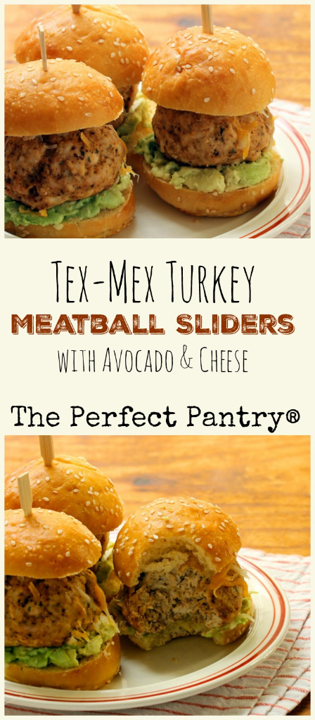 Tex-Mex turkey meatball sliders: make the meatballs ahead, and serve at your next party! [ThePerfectPantry.com]