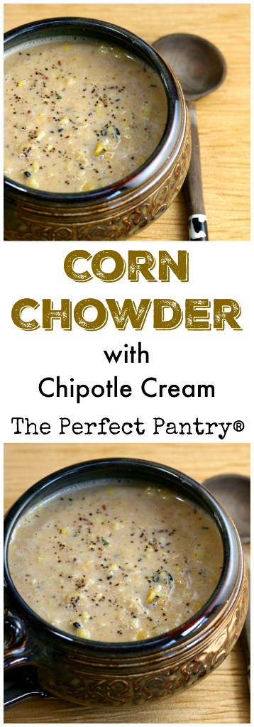 Corn chowder with chipotle cream packs a punch! And no shellfish. [ThePerfectPantry.com]