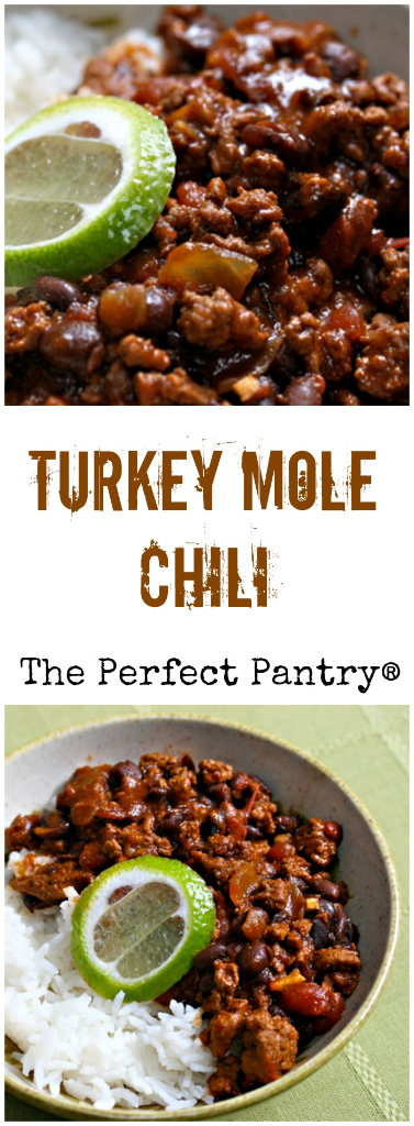 Turkey mole chili, perfect for any Mexican food celebration. Make ahead and freeze. [ThePerfectPantry.com]