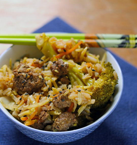 Made right in the slow cooker along with the beef, this super flavorful rice is packed with broccoli.