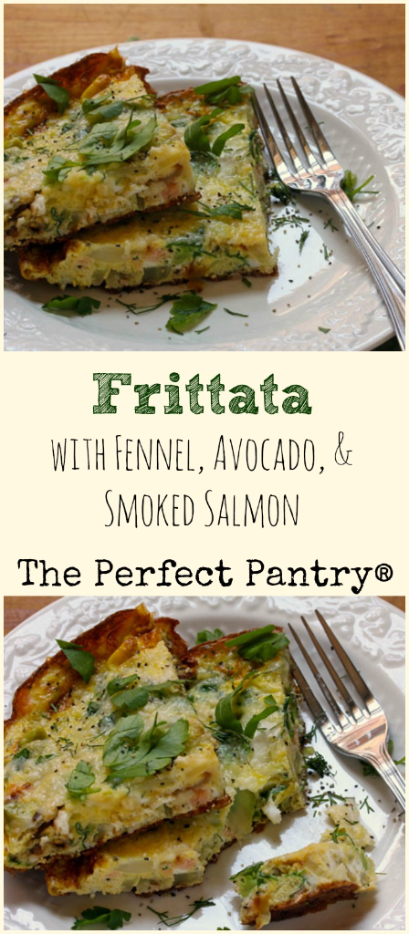 Easy weeknight dinner or brunch for two: a frittata with fennel, avocado and smoked salmon. Comes together in less than 30 minutes.