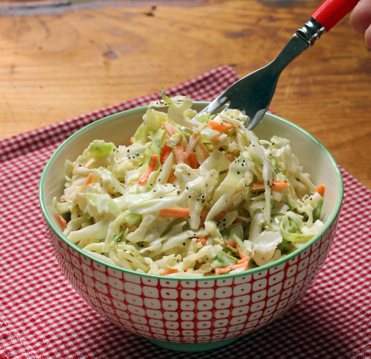 This quick and easy cole slaw is the perfect accompaniment to anything you cook on the grill.