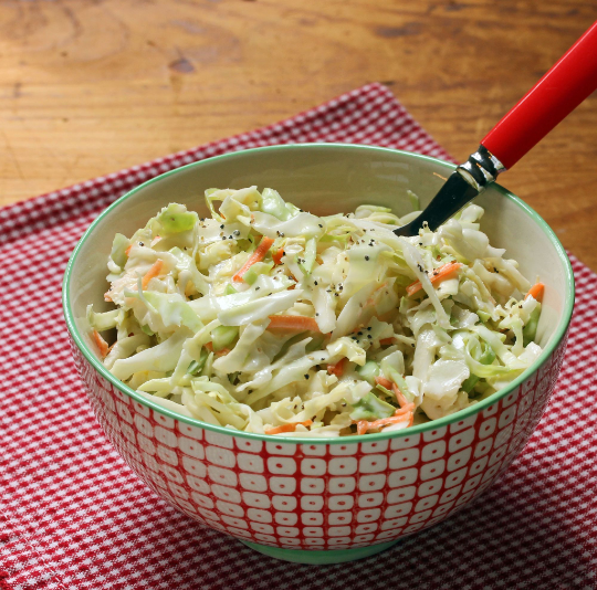 Quick and easy cole slaw goes with anything you cook on the grill!