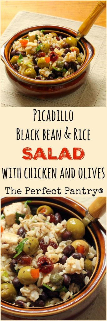 Make this festive picadillo black bean and rice salad for your next picnic or potluck!