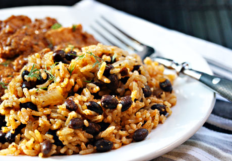 Quick and easy black beans and rice, one of The Perfect Pantry's 10 favorite recipes.