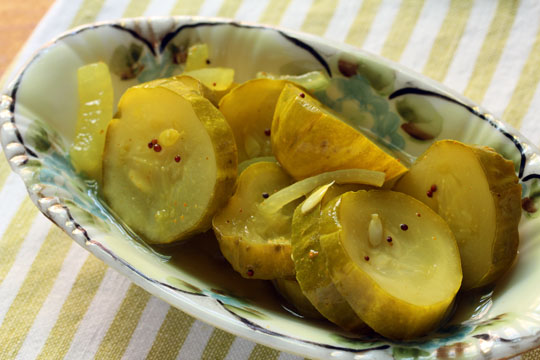 Turmeric gives these bread and butter pickles their familiar color!