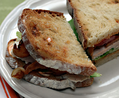 Kick up your bacon, lettuce and tomato sandwich with turkey and chipotle mayonnaise.