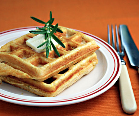 Serve these savory waffles at your next brunch. Sure to be a hit.