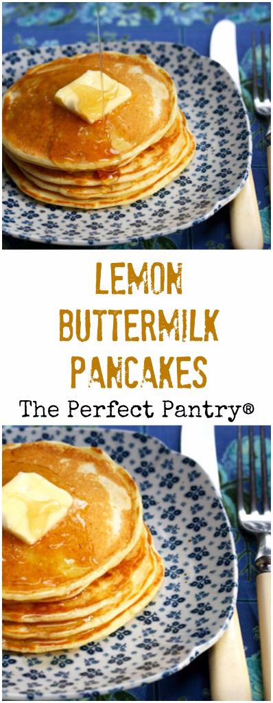 Delicate lemon buttermilk pancakes are perfect for a fancy brunch buffet.