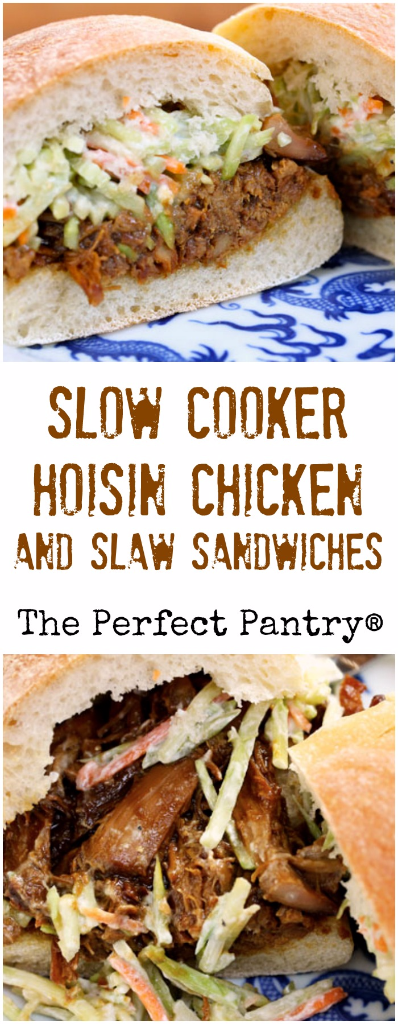 Slow cooker hoisin chicken takes only three ingredients, and an easy slaw combines for great sandwiches.