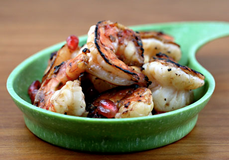Pomegranate orange ginger shrimp, fun and unusual for your next party.